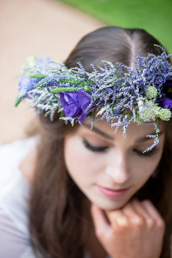 textured purple flower crown with lavender
