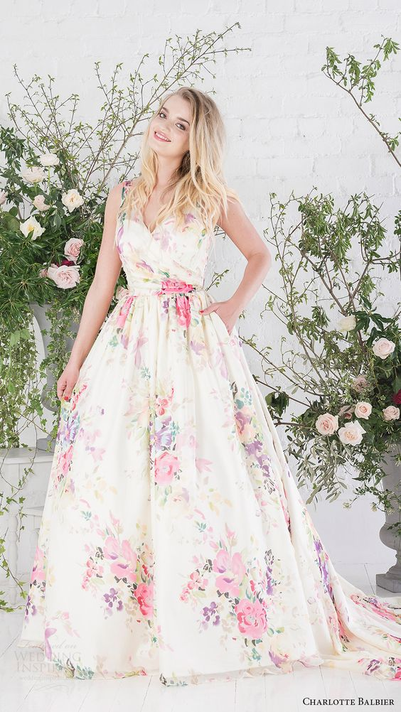 thick strap floral wedding dress with a train and pockets