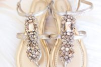 30 thong silver wedding sandals with heavily crystal decor