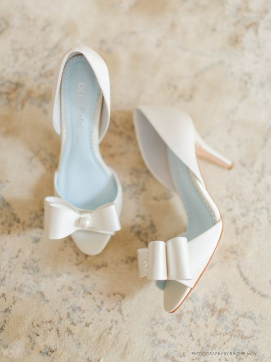 white peep toe heels with bows accentuated with pearls