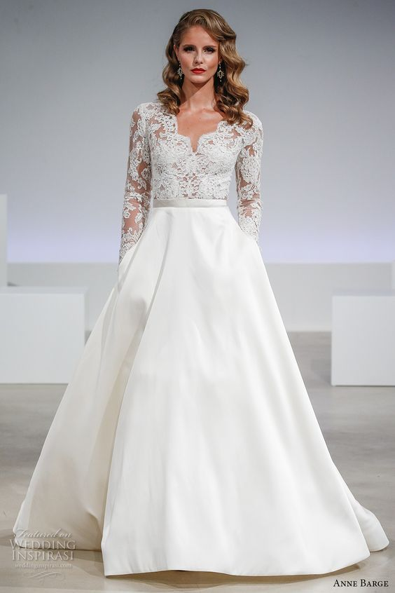 V-neckline illusion lace bodice with long sleeves and a plain skirt with pockets