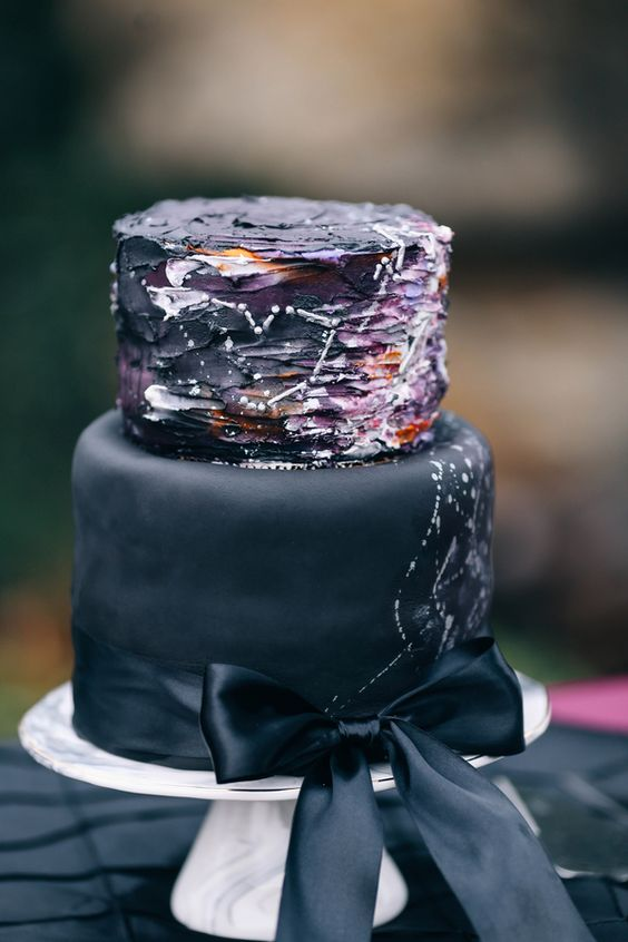 Picture Of Black And Deep Purple Wedding Cake With White