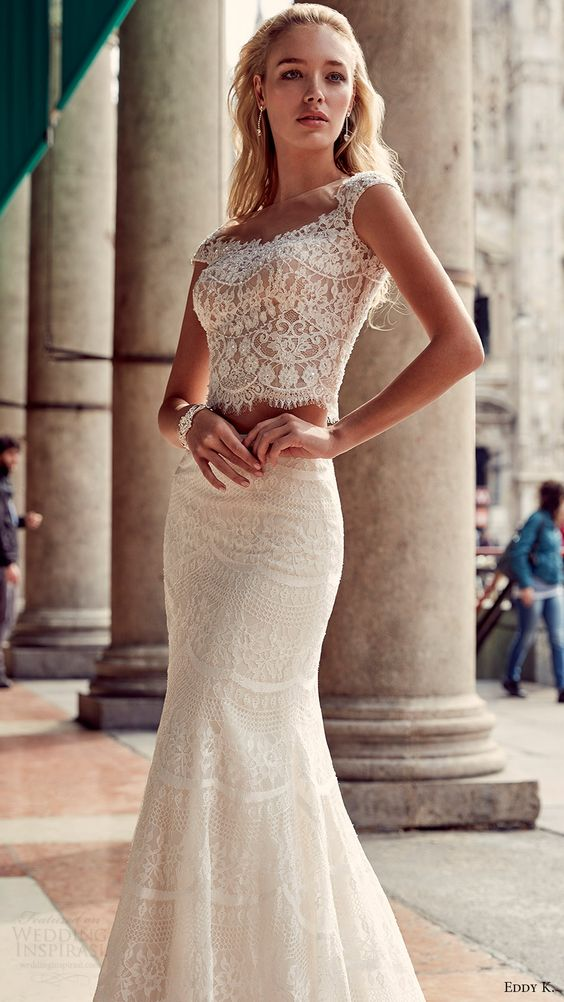 boho-inspired textural lace crop top with cap sleeves and a mermaid skirt