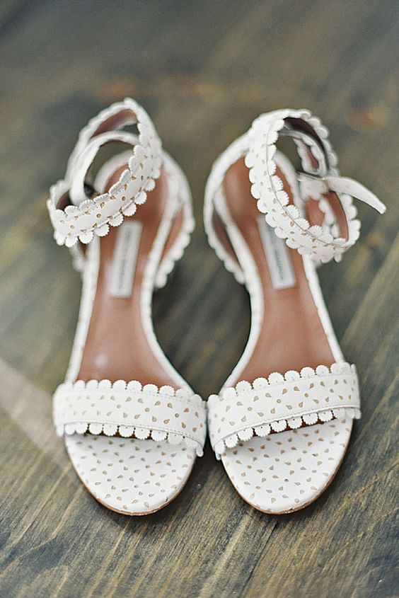 white lacey ankle strap wedding sandals look casual enough to wear them afterwards