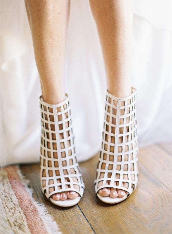 modern laser cut wedding booties with net decor