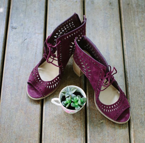 purple suede chunky heels with laser cutting and peep toes