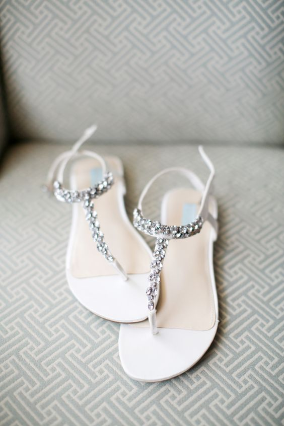 white sandals with silver beads can be a sparkling accent