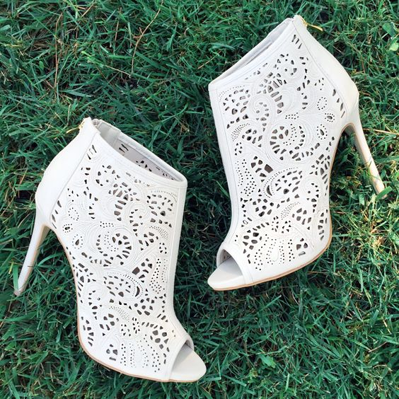 white suede laser cut wedding booties with peep toes