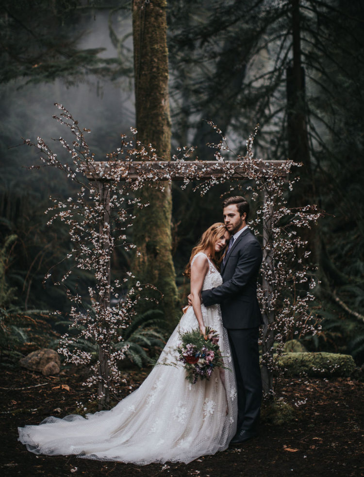 Enchanted Woodland Wedding Shoot With Cherry Blossoms
