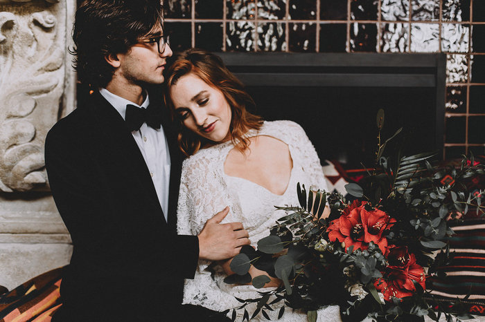 This moody industrial wedding shoot can serve as a source of inspiration for the couples that want an industrial wedding