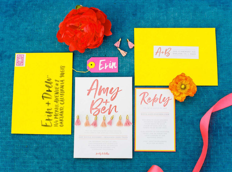 The wedding invites were done in neon yellow and pink, with tassels