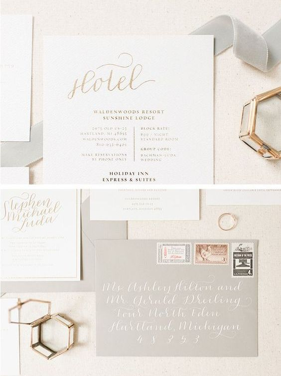 neutral wedding invites in light grey and cream, with gold calligraphy