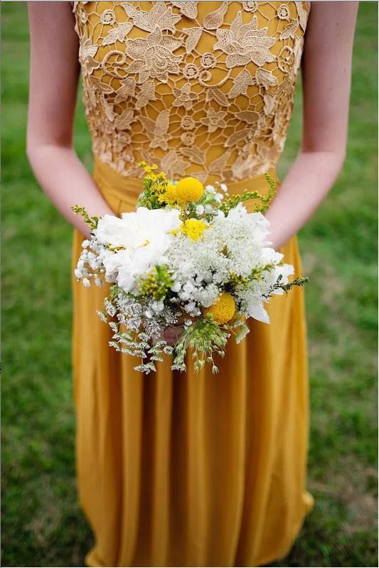 Sleeveless Mustard Bridesmaid Dress In Lace And Chiffon