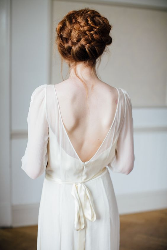 all-braid wedding updo with a messy touch is ideal for a boho bride