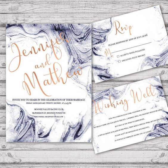 black and white marble wedding invitation suite with gold calligraphy