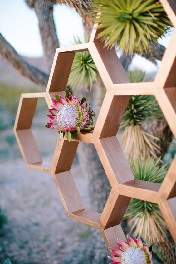 wedding hexagon backdrop with king proteas for a desert wedding