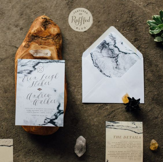 black and white marble wedding invitations and envelopes