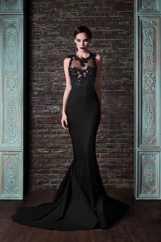 mermaid black wedding dress with a sleeveless lace illusion bodice and a plain skirt
