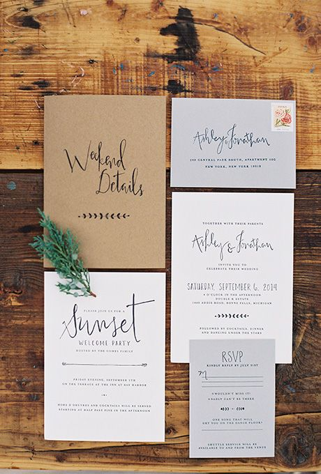 neutral stationary in light grey, white and with kraft paper for a neutral fall wedding