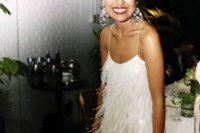 04 white spaghetti strap short feather dress for a modern bride