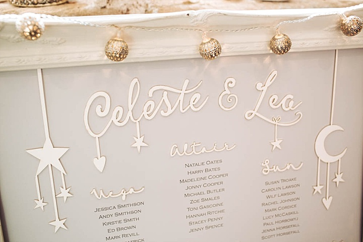 The moon, sun and stars motifs were used for decor, too, including the seating chart