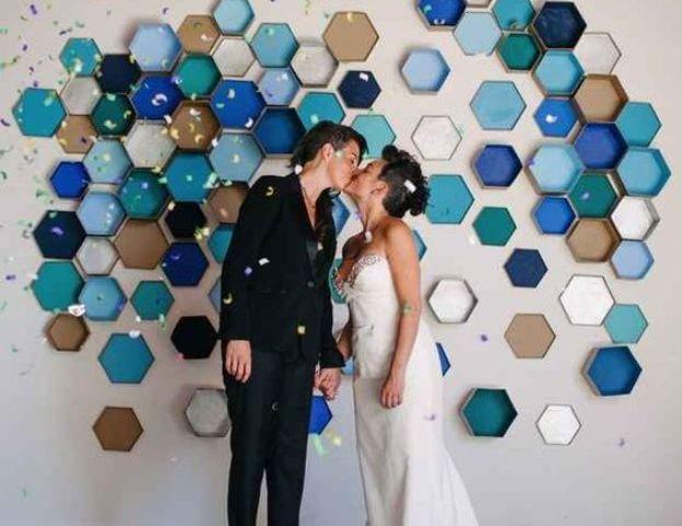colorful 3D honeycomb wedding backdrop