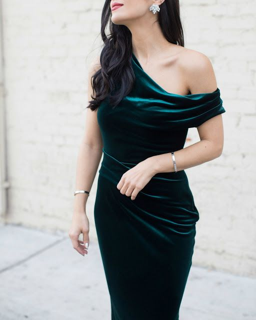 emerald velvet one shoulder draped wedding gown without sleeves