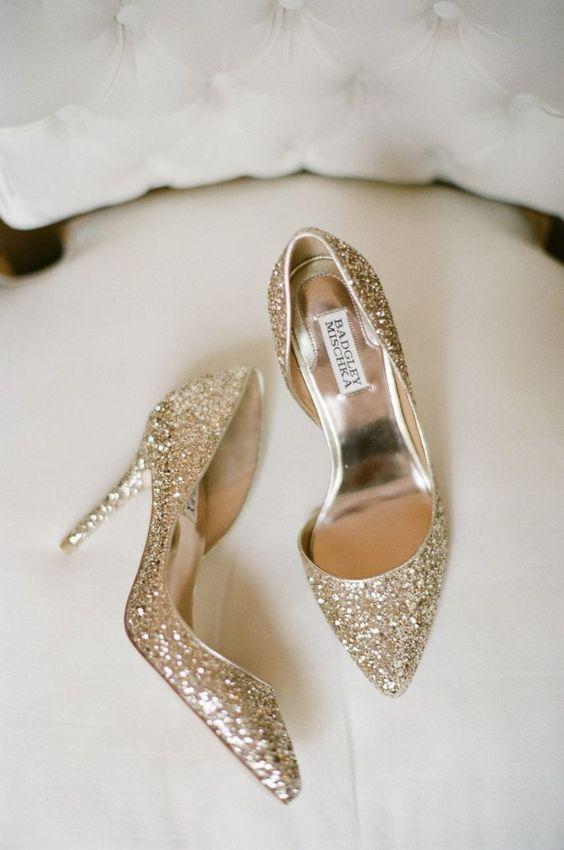 gold glitter wedding shoes by Badgley Mischka