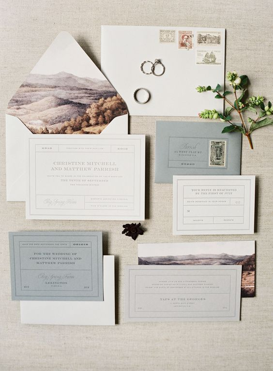 neutral wedding invites with envelopes with landscape lining