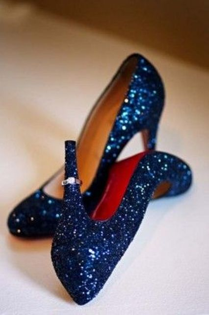 sparkling navy sequin wedding shoes