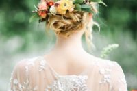 05 twisted messy bridal updo topped with leaf and fall flower headpiece