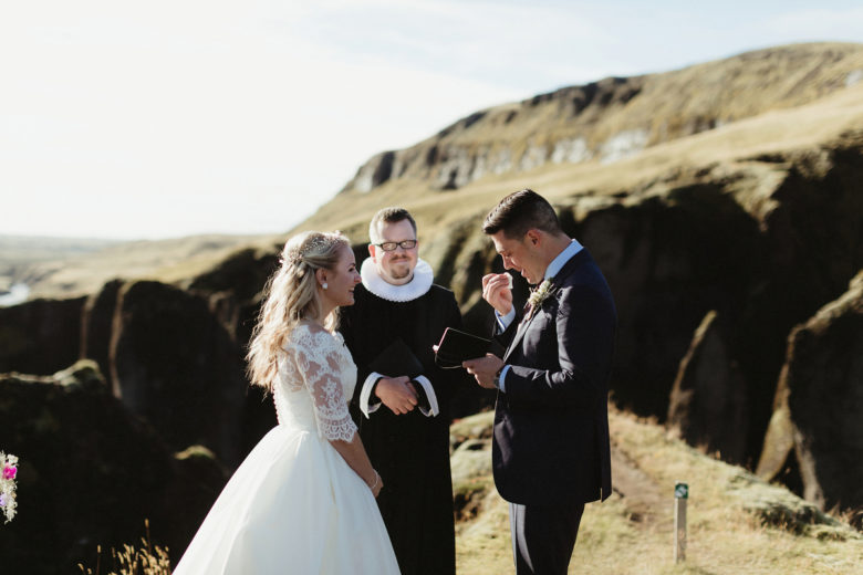 The ceremony took place in a canyon in Southern Iceland, the location was breathtaking