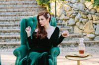 06 emerald long sleeve V-neckline velvet wedding dress with a train