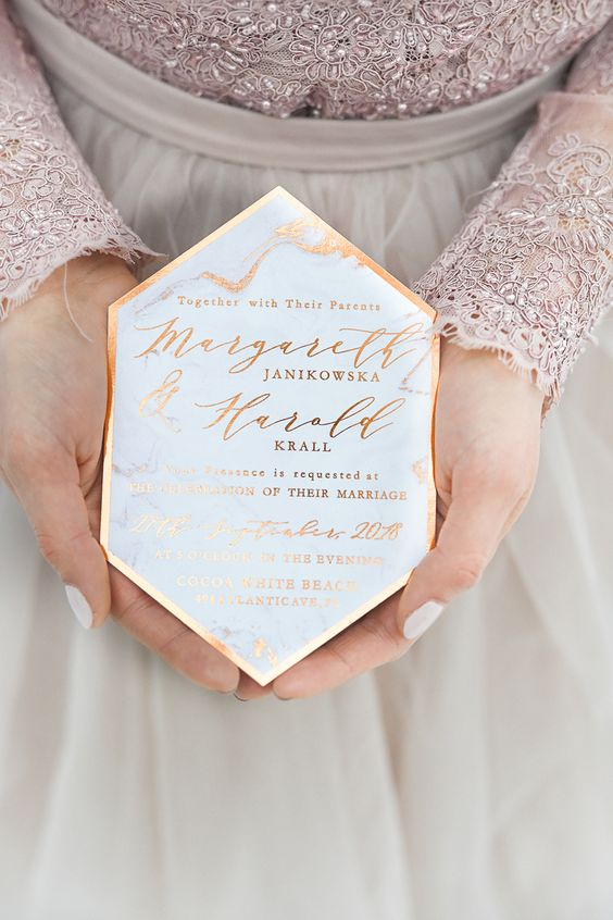 geometric copper and marble wedding invitations with calligraphy