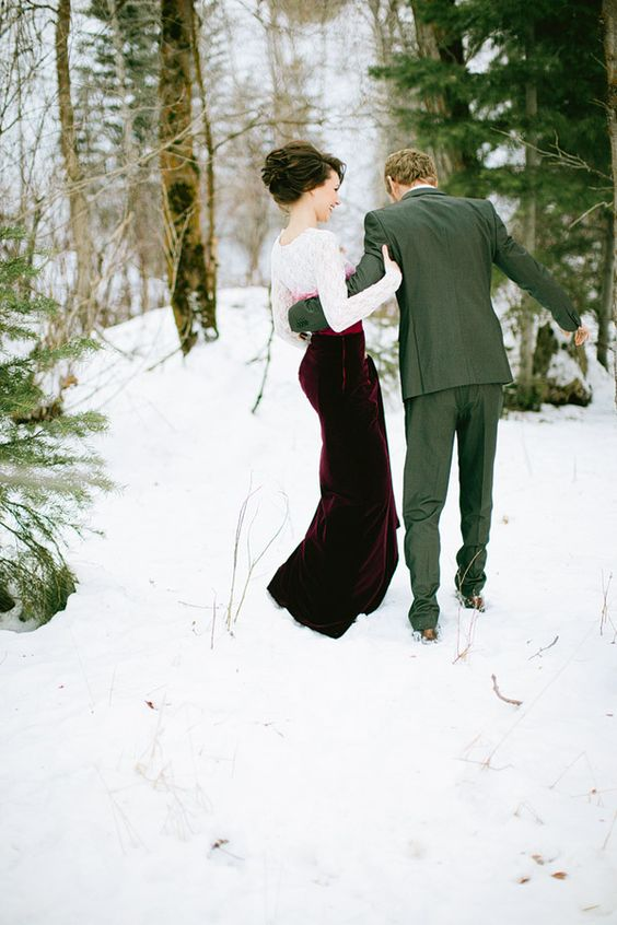 a burgundy maxi skirt and a white lace top for a trendy bridal separate