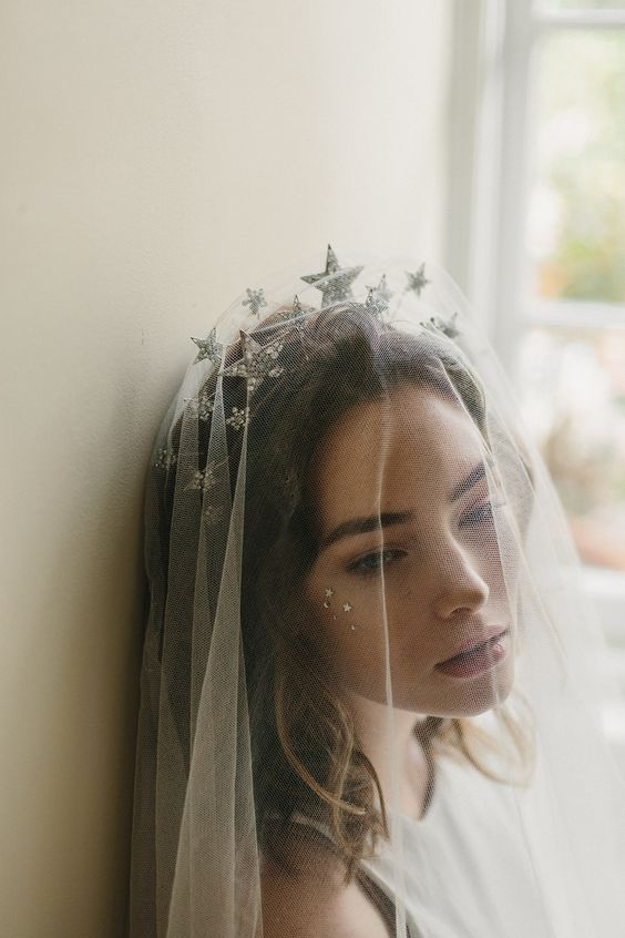 celestial bridal headband in silver with a veil