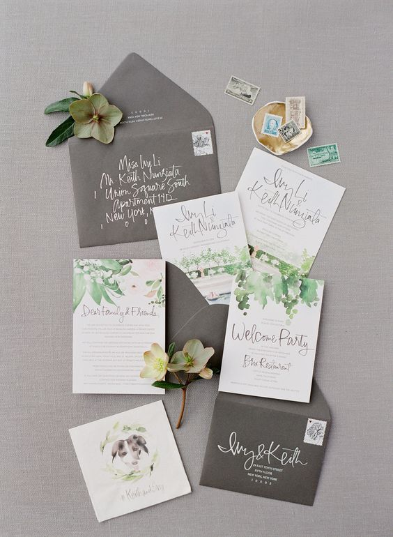 neutral stationary with watercolor green and grey florals and grey envelopes