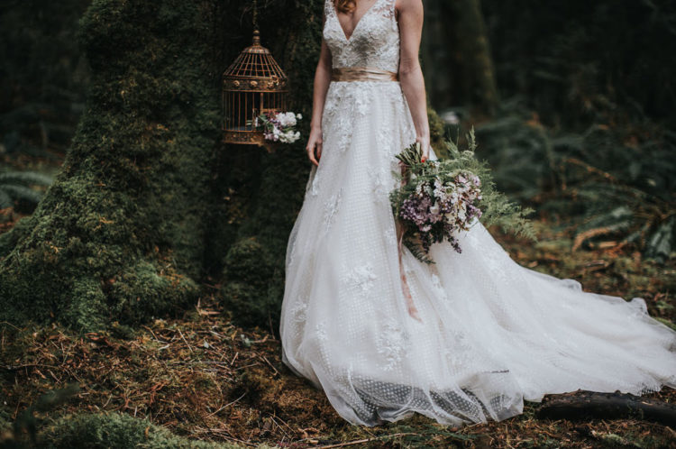 Pretty little vintage details added a refined feel to the shoot and contrasted with mossy trees