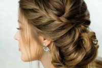 08 braided low side updo looks gorgeous and fits a lot of wedding styles