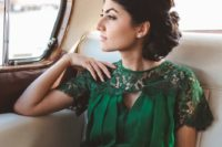 08 green illusion neckline wedding dress with short sleeves and lace top