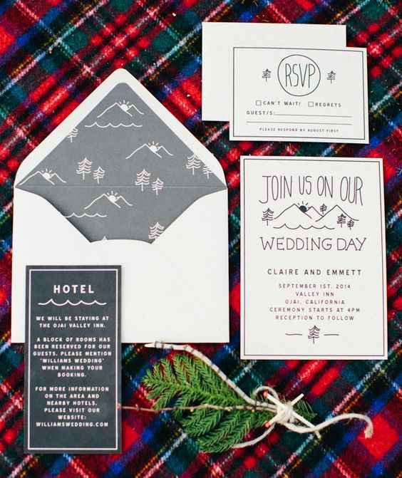 neutral invites and envelopes with grey woodland print lining