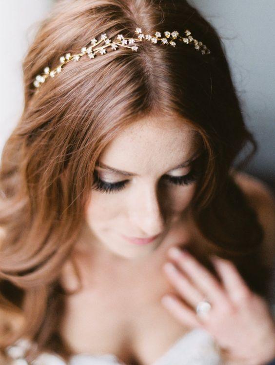 whimsical gold star wedding headband