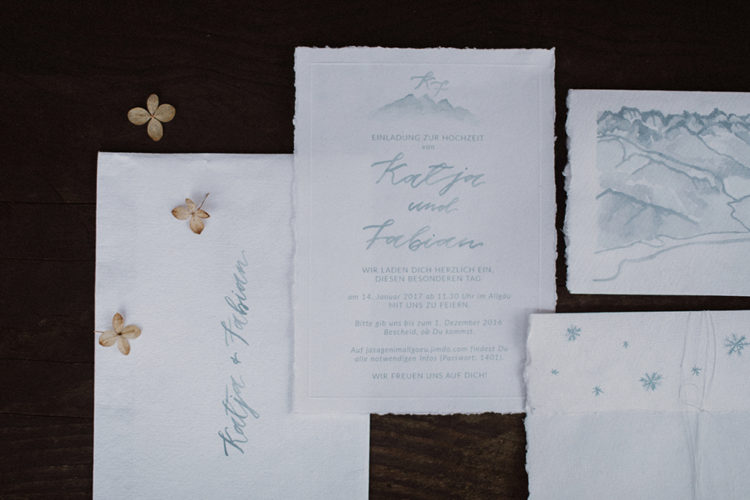 The wedding stationary was done in icy blue and it showed off the wedding theme and location