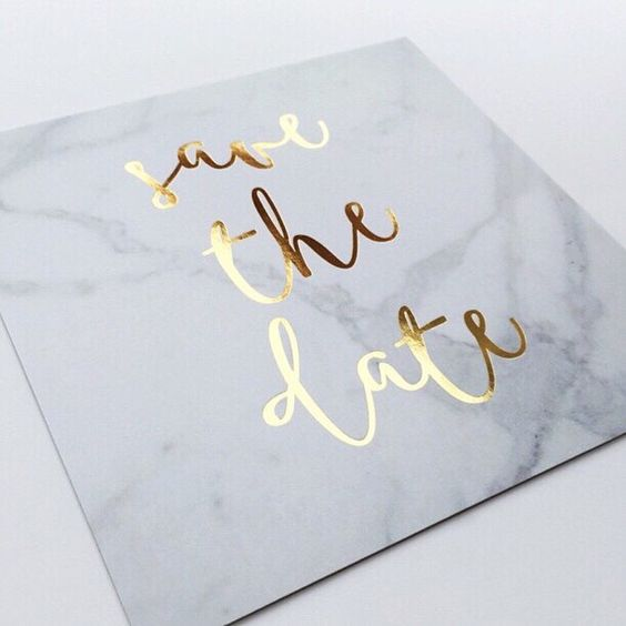 marble and gold save the date is a super chic idea