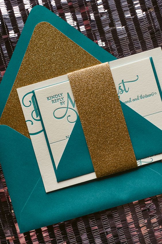 peacock teal and gold glitter wedding invitation suite