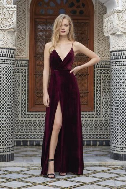 spaghetti strap burgundy bridesmaid's dress with a front slit