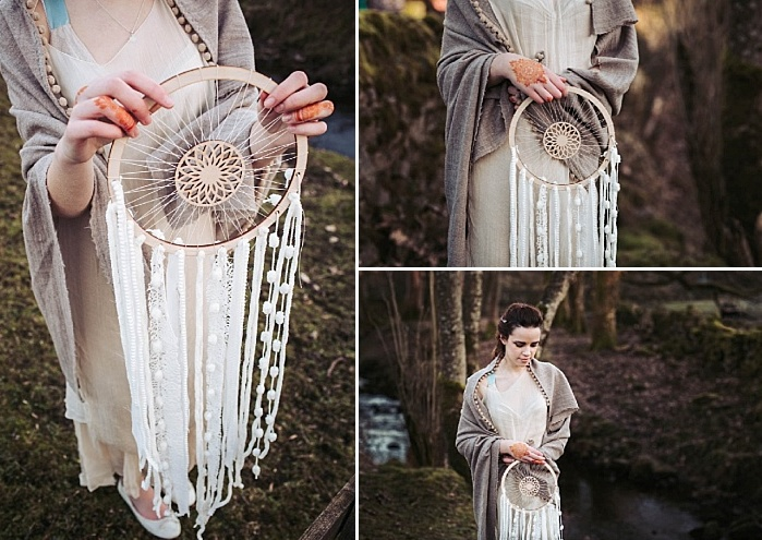 The bride in a sheer wedding dress and a linen pompom trim coverup