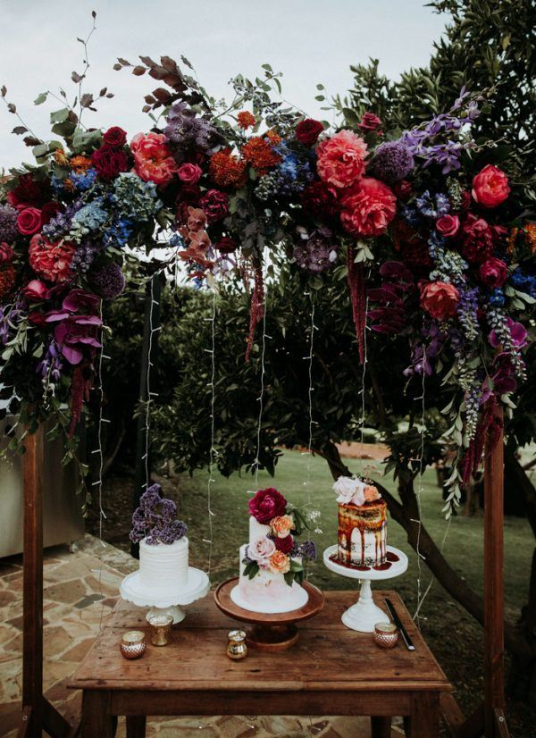 There was an assortment of wedding cakes served, all different and with different decor