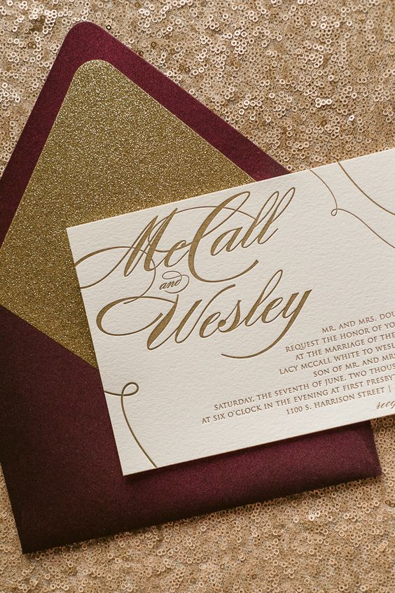 burgundy and gold wedding stationary suite