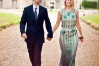 10 sleeveless emerald sequin wedding dress in art deco style